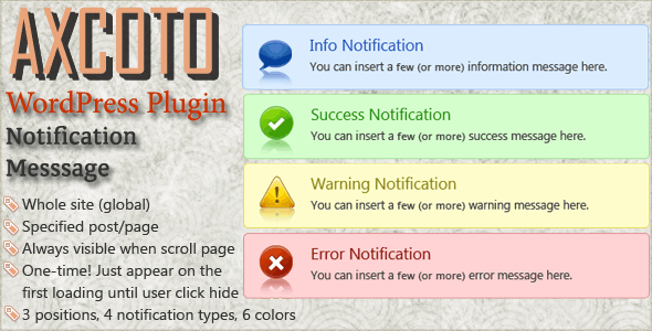 WordPress Notifcation Message Plugin - CodeCanyon Item for Sale