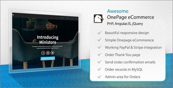 Ministore one page ecommerce HTML/PHP template with Paypal and Stripe - CodeCanyon Item for Sale