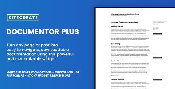 SiteCreate Documentor Plus - Powerful Table of Contents + Document Download Widget