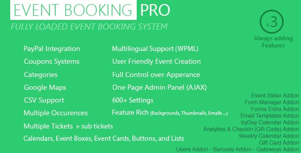 Event Booking Pro - WP Plugin  [paypal or offline]