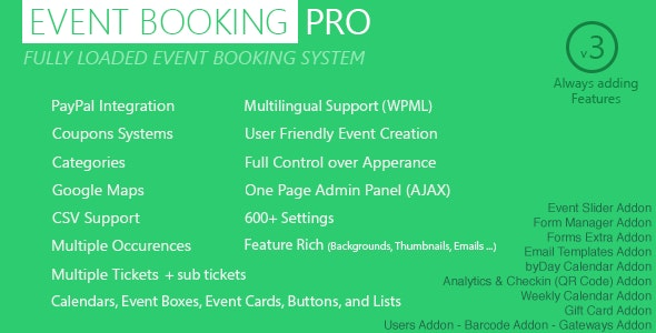 Event Booking Pro - WP Plugin [paypal or offline] by MoeHaydar