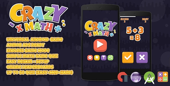 Crazy Math + Admob (Android Studio + Eclipse) Simple Quiz Game - CodeCanyon Item for Sale