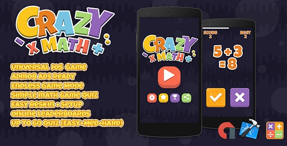 Crazy Math IOS XCODE + Admob Quiz Game Template - CodeCanyon Item for Sale