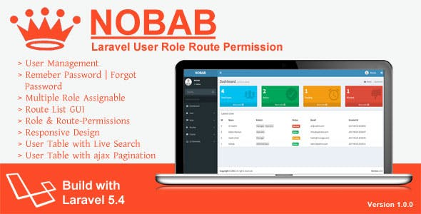 Nobab - Laravel User Role Route Permission