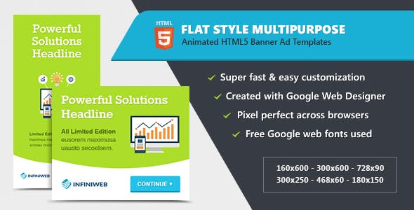Flat Style Animated Banner Ad Templates - HTML5 GWD