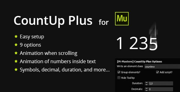 CountUp Plus - Counting numbers with animation