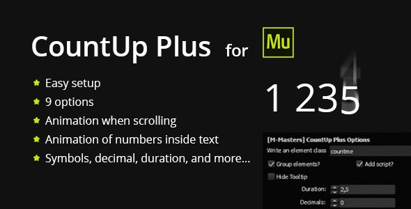 CountUp Plus - Counting numbers with animation - CodeCanyon Item for Sale