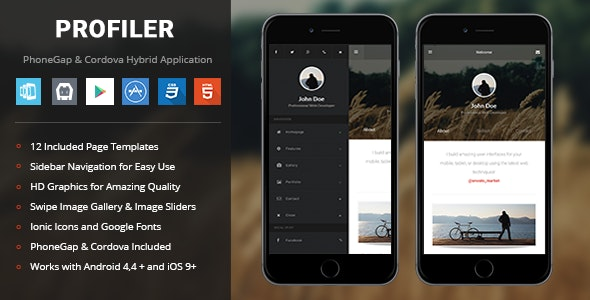 Profiler | PhoneGap & Cordova Mobile App - CodeCanyon Item for Sale