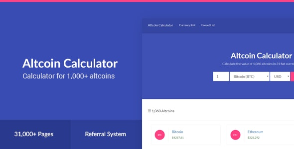 Altcoin Calculator - 1,000+ Crypto & 31 Fiat Currencies by EmberThemes