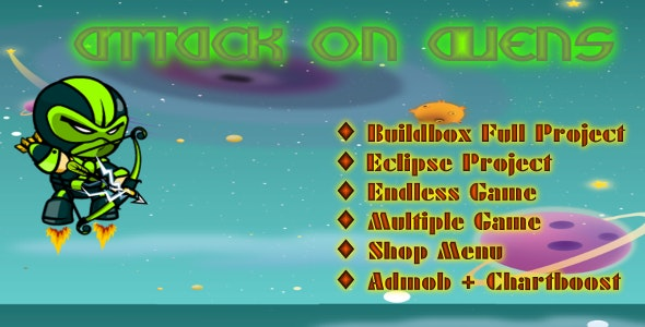 Attack On Aliens- Buildbox Game Template + Android Eclipse Project Template - CodeCanyon Item for Sale