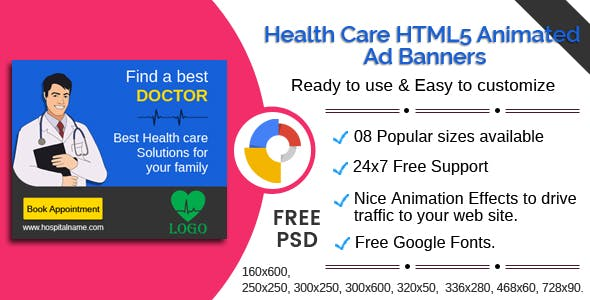 Health care - Multipurpose HTML5 Ad Banners - 08 Sizes