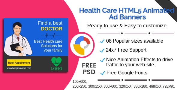 Health care - Multipurpose HTML5 Ad Banners - 08 Sizes - CodeCanyon Item for Sale
