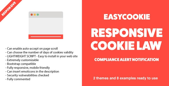 EasyCookie - GDPR Responsive Cookie Law Compliance Alert Notification - CodeCanyon Item for Sale