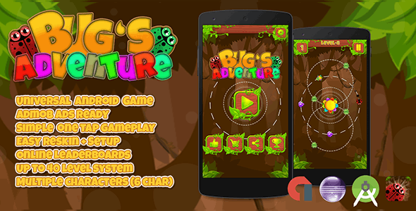 Bugs Adventure + Admob (Android Studio + Eclipse) Easy Reskin