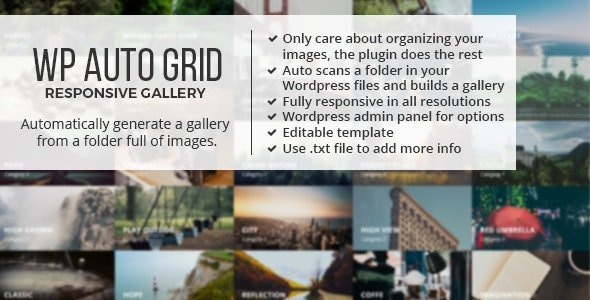 Auto Grid Responsive Gallery - Wordpress - CodeCanyon Item for Sale