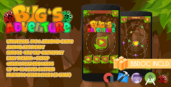 Bugs Adventure + Buildbox (BBDOC + Android Studio + Eclipse + Xcode) - CodeCanyon Item for Sale