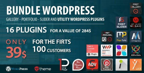 Bundle WordPress gallery, portfolio, slider and utility WordPress plugins