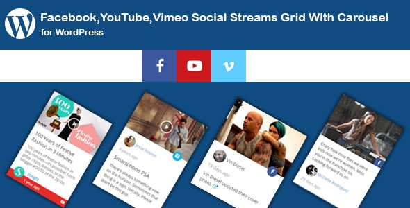 Facebook,YouTube Channel,Vimeo Social Streams Grid With Carousel for WordPress - CodeCanyon Item for Sale