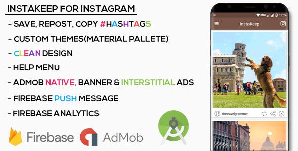 Premium Instagram Downloader- Save, Repost (Material Design+Native Ads+Banner+Interstitial)