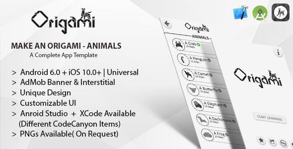 Make An Origami-Animals Android Studio Project + IAP + Admob Banner & Interstitial