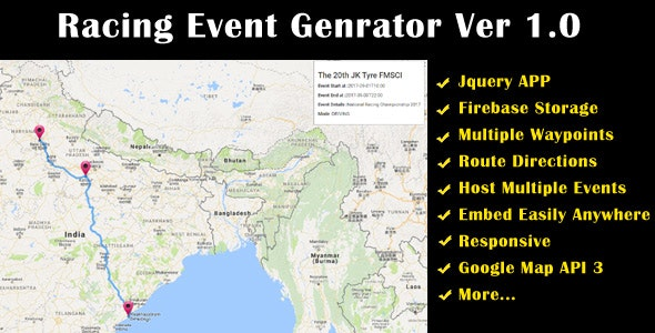 Racing Event Route Planner - CodeCanyon Item for Sale