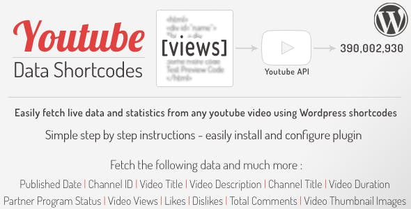 YouTube Data API Shortcodes - Wordpress Plugin