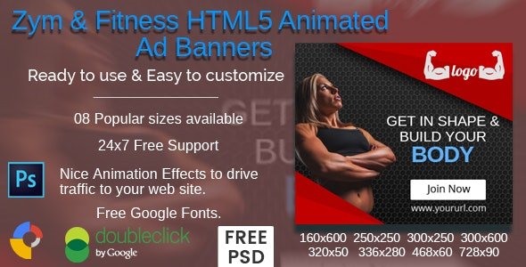 Zym & Fitness HTML5 Animated Ad Banners - CodeCanyon Item for Sale
