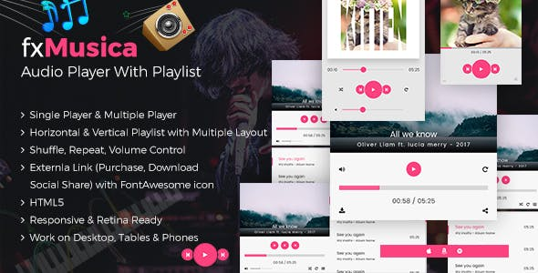 FxMusica - Audio Player with Playlist by CodePassenger | CodeCanyon
