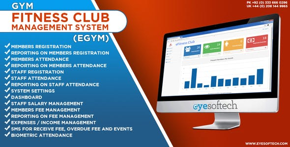 Gym / Fitness Club Management System with SMS and Biometric Integration v1.2 (eGym)