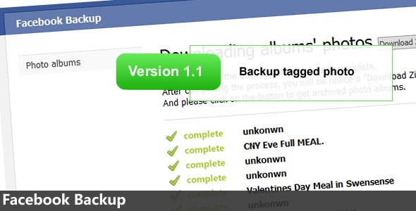 Facebook Backup - CodeCanyon Item for Sale