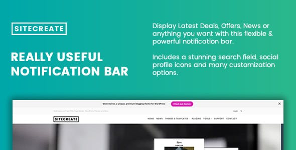SiteCreate Really Useful Notification Bar for WordPress