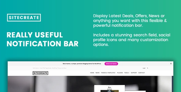 SiteCreate Really Useful Notification Bar for WordPress - CodeCanyon Item for Sale