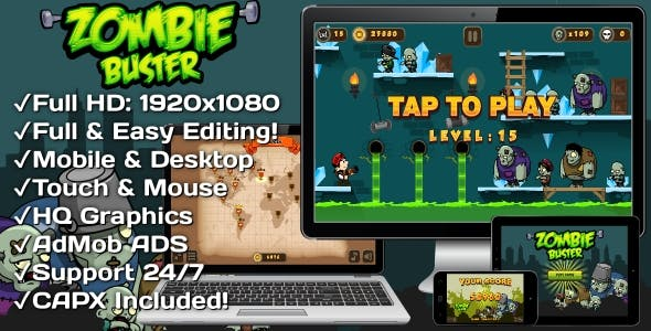 Zombie Buster - HTML5 Game 20 Levels + Mobile Version! (Construct 3 | Construct 2 | Capx)