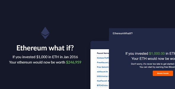 Ethereum What If? - Historic Investment Calculator - CodeCanyon Item for Sale