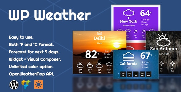 WP Weather - WordPress Weather Plugin for WordPress Widget, Elementor and WPBakery Page Builder - CodeCanyon Item for Sale