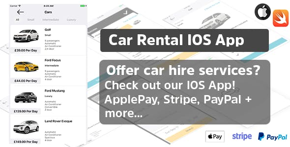 CarRento - Car Hire Rental Services Template IOS App Written in Swift 3 XCode Native