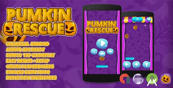 Pumpkin Rescue + Admob (Android Studio + Eclipse) Easy Reskin