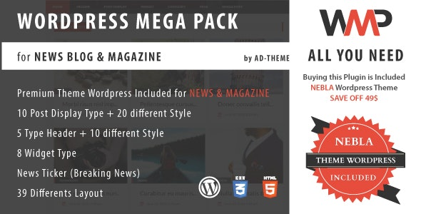 WP Mega Pack for News, Blog and Magazine - All you need by ad-theme