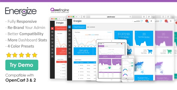Energize - Premium Responsive OpenCart Admin Theme (Bootstrap) - CodeCanyon Item for Sale