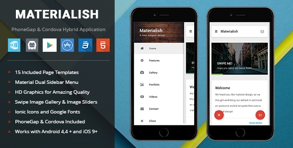 Materialish | PhoneGap & Cordova Mobile App by Enabled