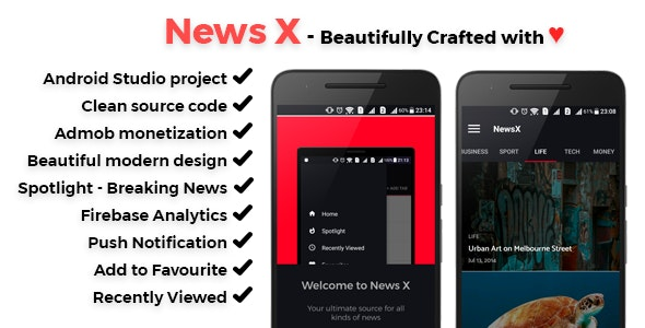 NewsX - Beautiful News App - v1.1 - CodeCanyon Item for Sale