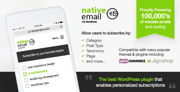 Native Email- Personalised Email Alerts by Category And More - CodeCanyon Item for Sale