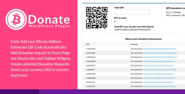 Bitcoin Donate - A WordPress Plugin - CodeCanyon Item for Sale