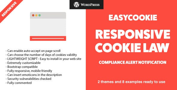 EasyCookie WordPress Plugin - GDPR Responsive Cookie Law Compliance Alert Notification