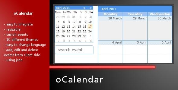 oCalendar -jquery Event Calendar Plugin