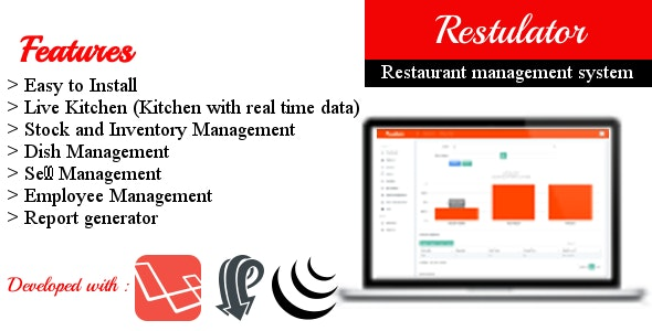 Restulator - Restaurant Management System in Laravel 5.5 with Pusher and jQuery - CodeCanyon Item for Sale