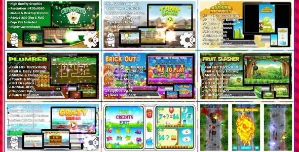 HTML5 GAMES BUNDLE №5 (Construct 3 | Construct 2 | Capx) - CodeCanyon Item for Sale