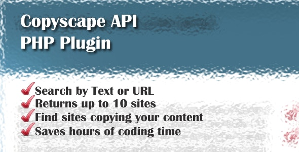 Copyscape API PHP Plugin Helper - CodeCanyon Item for Sale
