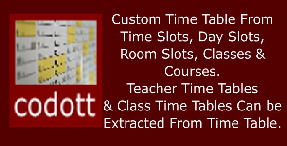Codott Time Tables - CodeCanyon Item for Sale