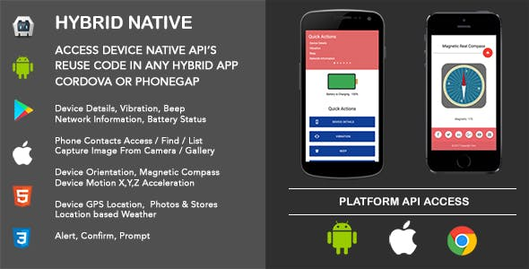 Hybrid Native Cordova App - device native api's reuse code in any hybrid cordova app